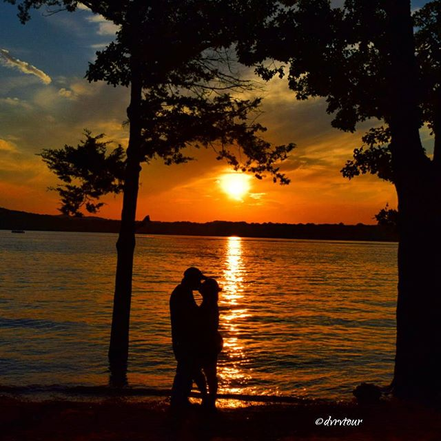 Couple at sunset over Table Rock Lake