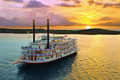 Showboat Branson Belle on Table Rock Lake at sunset