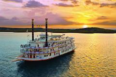 Showboat Branson Belle on Table Rock Lake at sunset