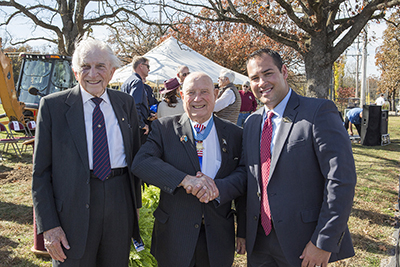 "Dr. E. Bruce Heilman, WWII Veteran and chancellor of the University of Richmond; Hershel ""Woody"" Williams, WWII Medal of Honor recipient; and Bryan Cizek, director of patriotic activities at College of the Ozarks enjoy the day's events at the memorial groundbreaking."