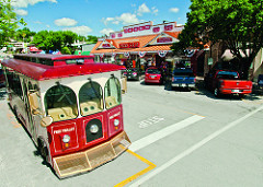 Historic Downtown Branson with trolley