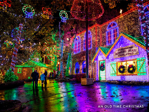 Building lined with thousands of Christmas lights at Silver Dollar City's Christmas in Midtown.