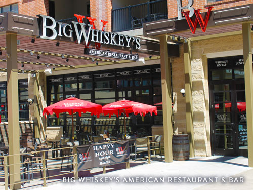 Outdoor patio and front door of Big Whiskey's Restaurant and Bar on Branson Landing.