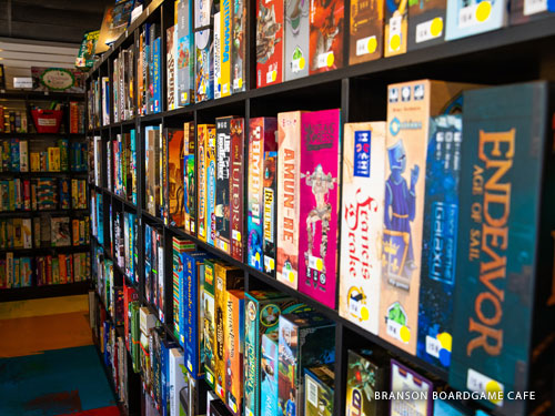 Shelves full of hundreds of board games at a family attraction in Branson.