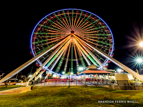 LED lighted Ferris Wheel lighting up the night in Branson.