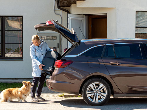 Woman wearing blue raincoat putting suitcase inside a brown car and looking at a dog.