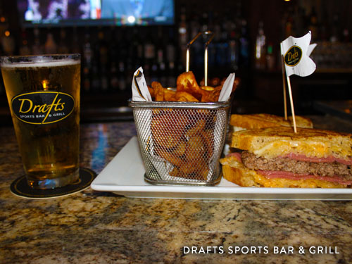 Food and alcohol served at Drafts Sports Bar and Grill.