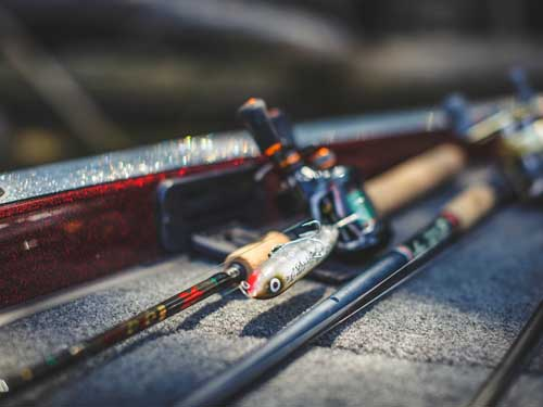 Fishing rods for Branson bass fishing on three local lakes.
