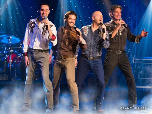 Gospel Quartet singing at a live Branson show.