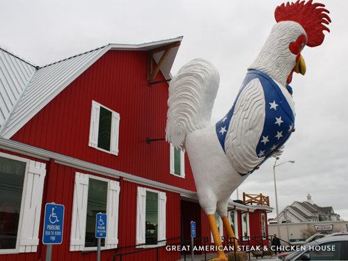 43-foot rooster outside of a chicken and steak restaurant in Branson.