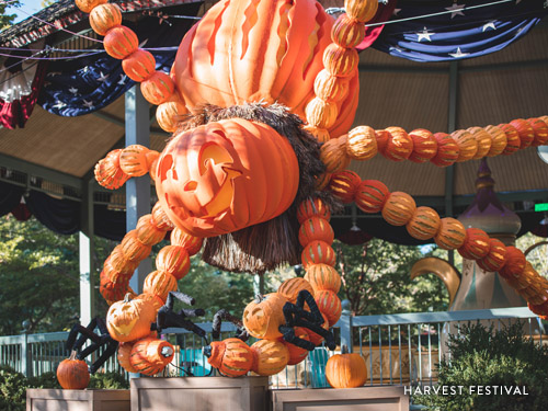 Large pumpkin made of hand-carved pumpkins at Silver Dollar City's Harvest Festival.