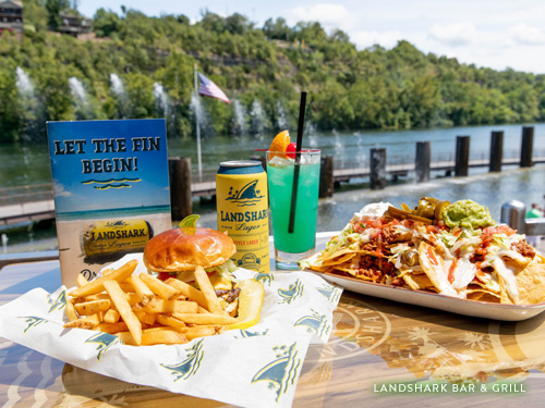 Nachos, burger and beer at Landshark Bar & Grill at Branson Landing.