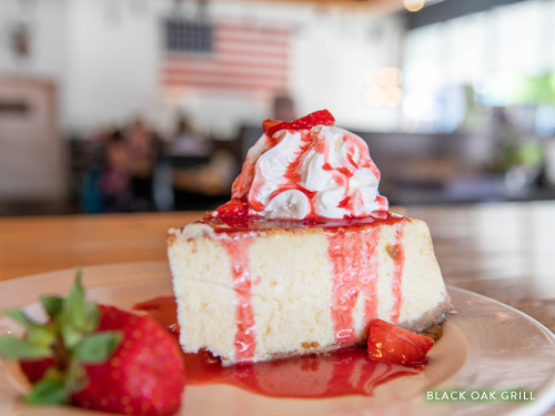 Strawberry cheesecake dessert at Branson Landing Black Oak Grill.