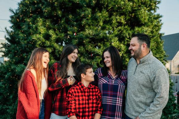 Family enjoying Christmas in Historic Downtown Branson, MO