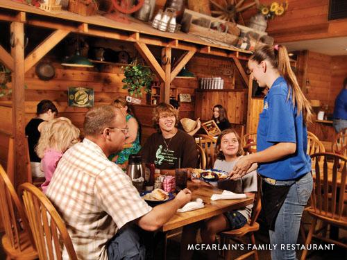 Family of four eating at McFarlain's Family Restaurant in Branson.