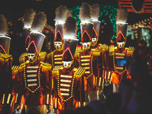 Silver Dollar City Christmas parade. Men dressed as nutcrackers.