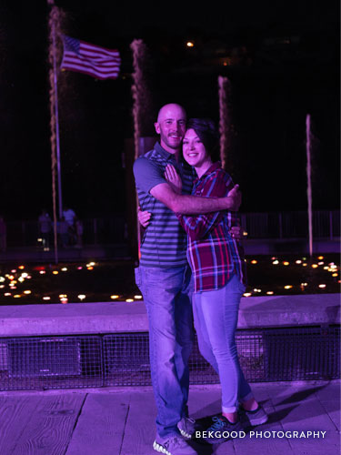 Recently engaged couple at Branson Landing Fountains.