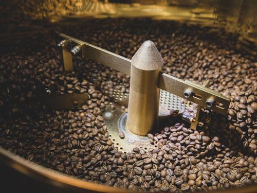 Coffee beans roasting in Branson coffee shop.