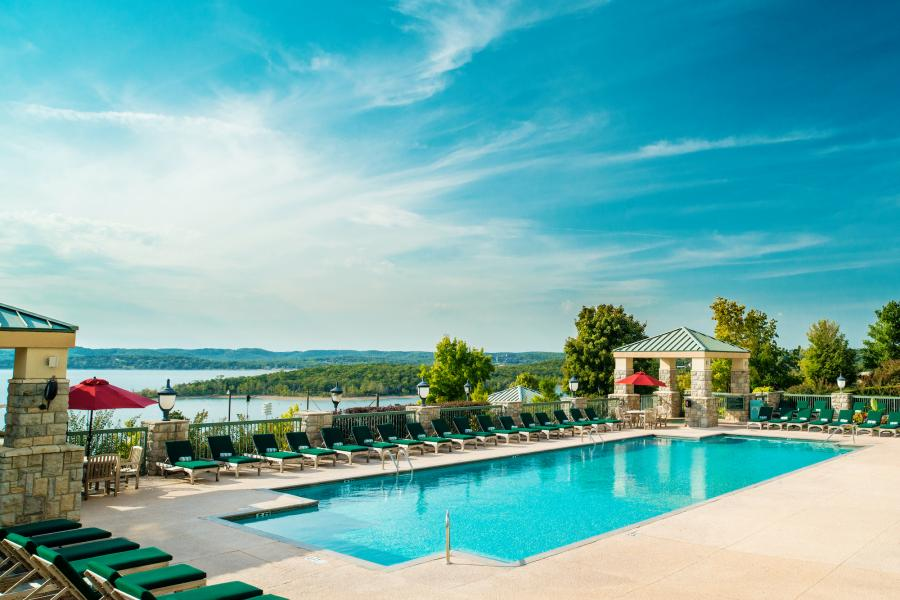 Outdoor pool at Chateau on the Lake Resort in Branson.