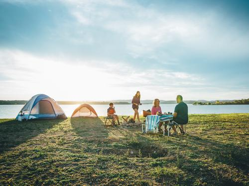 Family of four camping at a Branson campsite near Table Rock Lake