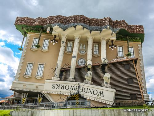 Large upside down building that is a new family attraction in Branson.