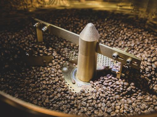 Coffee beans roasting in Branson coffee shop.