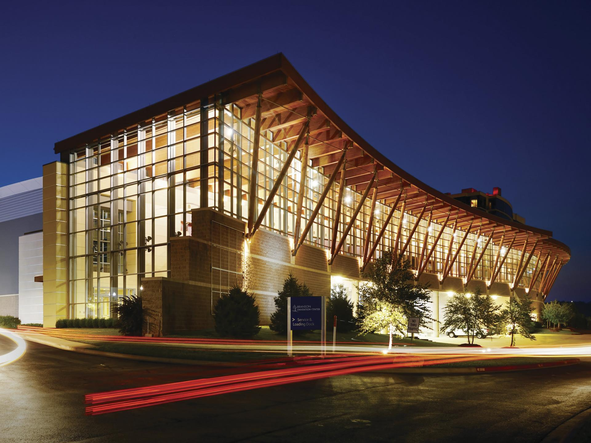 Branson Convention Center exterior at night.