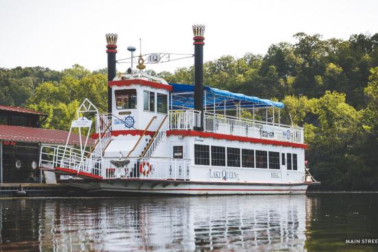 Large Lake Queen Boat sitting on Lake Taneycomo near Branson Landing.