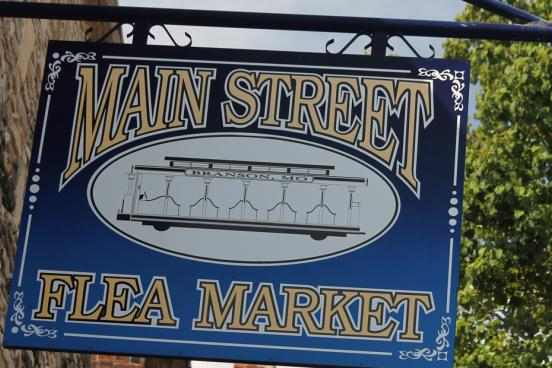Flea Market sign in Historic Downtown Branson.