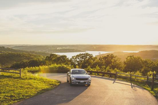 Car on scenic road in Branson