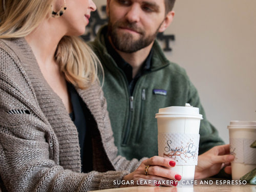 Man and woman on date at a Branson coffee shop.