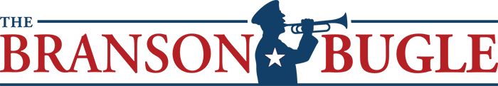 Logo for a Veterans news piece in Branson where a soldier is playing a bugle.