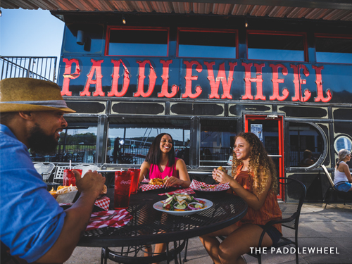 Family eating at the Paddlewheel for New Year's Eve.