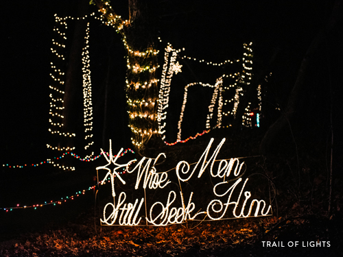 Long trail of Christmas lights in Branson.