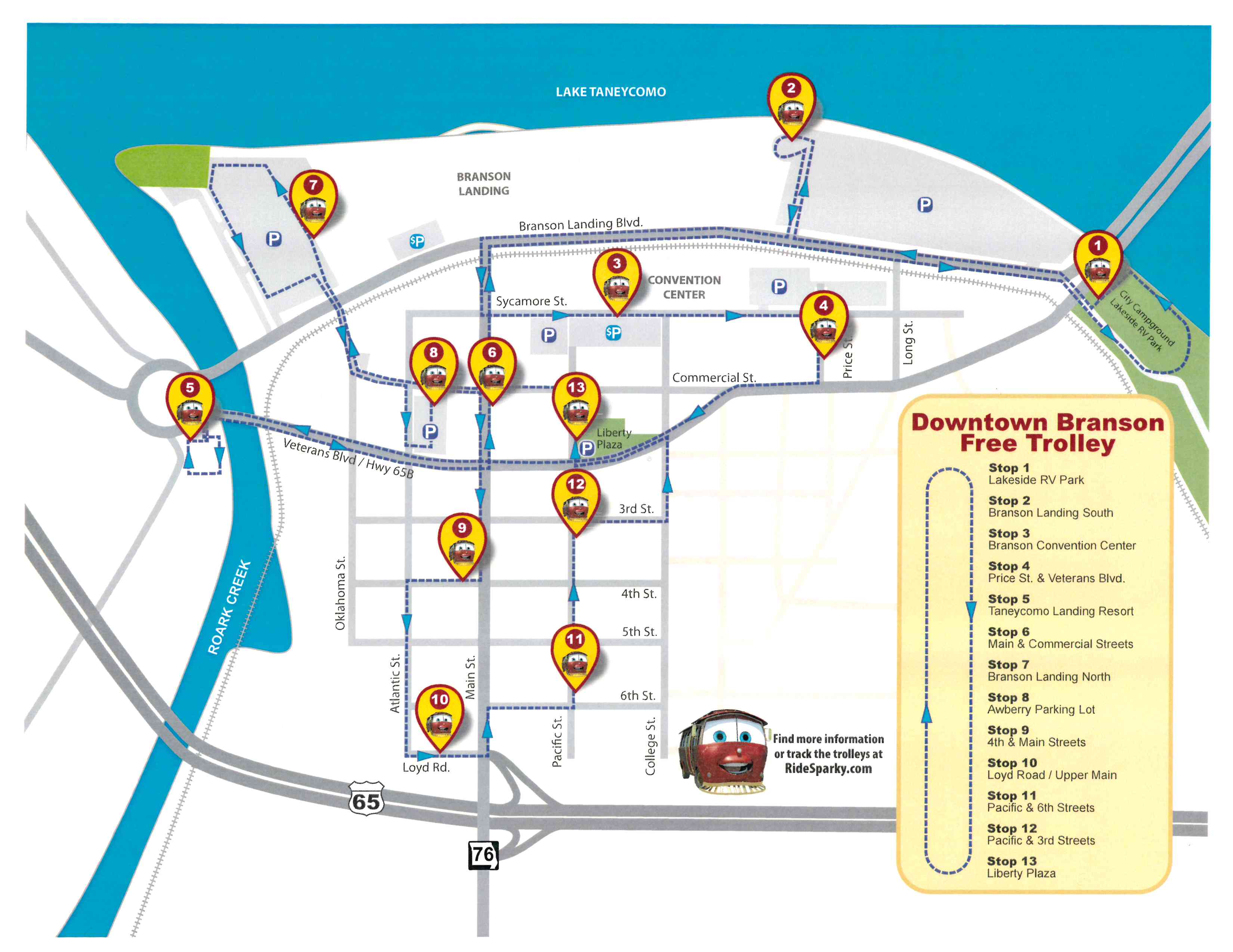 Map of thirteen stops on Branson's free Downtown trolley system.