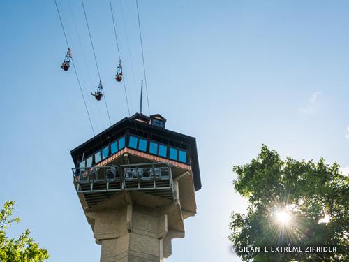 Four ziplines high in the sky in Branson.